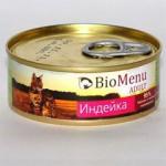 Biomenu ADULT Консервы для кошек мясной паштет с Индейкой  95%-МЯСО 100гр*24