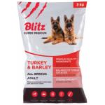 BLITZ сухой корм для взрослых собак Индейка/ячмень 3кг