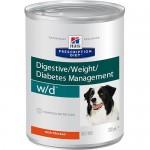 HILLS (Хиллс) Диета консервы для собак W/D лечение сахарного диабета, запоров, колитов, контроль веса 370г (США) 6шт