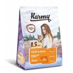 7028 KARMY Hair & Skin д/ кошек, поддерживающий здоровье кожи и шерсти Лосось - 1.5кг
