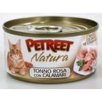 53072 PETREET Кон.д/кошек Кусочки розового тунца с кальмарами 70гр*12