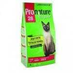 """Pronature Пронатюр 28 сухой Корм для кошек """"Мясной Праздник"""" цыпленок, лосось и ягнен350гр"""